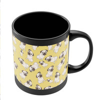 Pug Life Pattern Black Coffee Mug