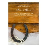 Horseshoe and Pearls Country Wedding Invitation from Zazzle.com