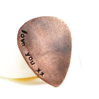 Love You Personalized Rustic Guitar Pick.