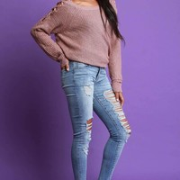 Mid Rise Distressed Skinny Denim Jeans