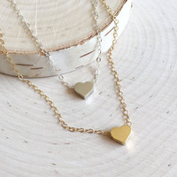 Cute and Tiny Heart Charm in Gold or Silver with 14k Gold Filled or Sterling Silver Chain, Gifts under 20, Tiny Heart Charm Necklace