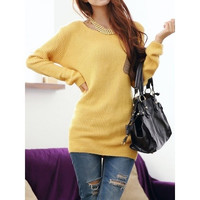 Yellow Fashion Womens Long Sleeves Knitting Patch Pocket Letters Printed Round Neck Sweater One Size MM0272y = 1919953924