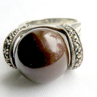 Vintage Sterling Silver Red Bead and Marcasite Ring Size 5.5