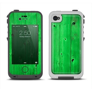 The Green Highlighted Wooden Planks Apple iPhone 4-4s LifeProof Fre Case Skin Set