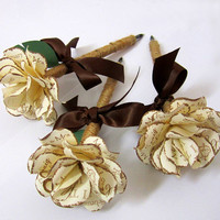 Personalized Rustic  Twine Wrapped Paper Rose by PAPERFLORISTS