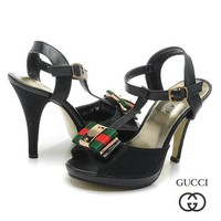 GUCCI Women Fashion Fish Mouth Buckle Strap Heels Sandals Shoes