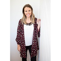 On The Prowl Kimono - Burgundy