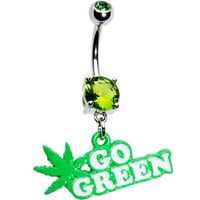 Peridot Gem Go Green Pot Leaf Belly Ring | Body Candy Body Jewelry