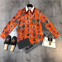 """Gucci"" Women Temperament Fashion Flower Letter Print Silk Long Sleeve Cardigan Multicolor Lapel Shirt Tops"