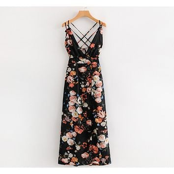 Deep V-Neck Print Crisscross Strappy Maxi Dress