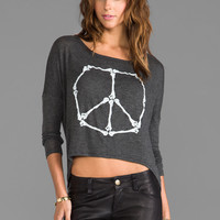 Morning Warrior Peace Bones Long Sleeve Tee in Charcoal Heather from REVOLVEclothing.com