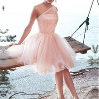 [78.99] Marvelous Tulle & Lace One-shoulder Neckline A-Line Homecoming Dresses With Beads - dressilyme.com