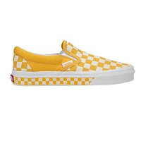 Vans Slip-On Classic Popular Women Men Casual Old Skool Yellow White Checkerboard Canvas Sneakers Sport Shoes I-A36H-MY