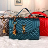 YSL 2017 new fashion leather stripe & Diamond lattice Shoulder Bag [110147207183]
