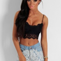 Carny Black Lace Bralet Crop Top | Pink Boutique