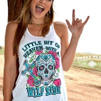 Wild Size Sugar Skull Tank Top - Also in Plus Size :: Gypsy Ranch Boutique