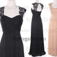 Straps Sweetheart Lace and Chiffon Black Prom Dresses, Champagne Evening Gown, Long Bridesmaid Dresses, Chiffon Prom Gown, Formal Gown