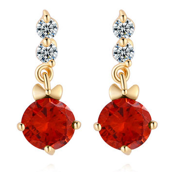 Ear Studs Single-breasted Pave Setting Zircon Ear Accessories   gold plated red zircon