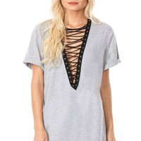 Indie Lace Up Tunic - Grey