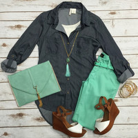 Light Weight Belted Jeggings: Mint