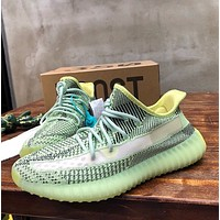 ADIDAS Yeezy Boost 350 V2 new starry luminous casual sneakers Green