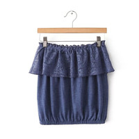 Blue Strapless Crop Top Ruffle Lace Tube