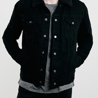 Black Borg Lined Western Denim Jacket - Topman