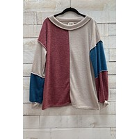 Colorblock Knit Sweater- Taupe/Teal