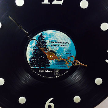"Vinyl Record Clock, Wall Clock, Dan Fogelberg Record, Recycled Music Record, 12"" Record, Battery & Wall Hanger included, Item #13"