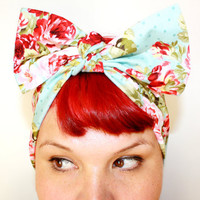 Bow hair tie Powder Blue Vintage Rose Rockabilly by OhHoneyHush