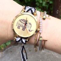 Gold Bohemian Elephant Watch - Black + White