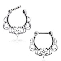 Lace Inspired Ornate Septum Clicker Ring 16 GA