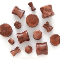 Chocolate Jasper Stone Plugs - Sold by Pair (Choose Size) (00G (10mm))