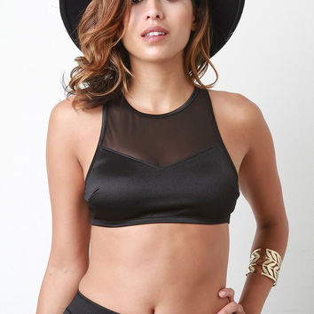 Athleisure Sheer Racerback Crop Top