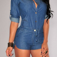 Roll-Up Sleeve Drawstring Denim Romper