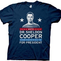 Vote Dr. Sheldon Cooper for President Navy Mens T-shirt