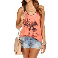 Coral Palm Tree Burnout Tank