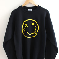 Nirvana Smiley Face Black Crewneck Sweatshirt