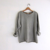 vintage oversized slouchy pullover sweater. women's boatneck cotton sweater. size XL