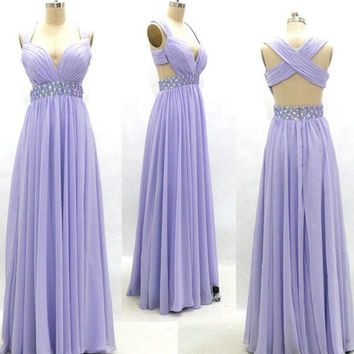 Cap Sleeves Chiffon and Beaded Prom Dresses Cross Type Back pst0095