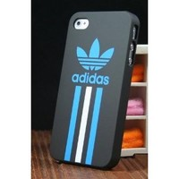 Sole Trader New Iphone 4/4s Protective Adidas White and Blue Straight Black Case Skin Cover: Cell Phones & Accessories