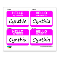 Cynthia Hello My Name Is - Sheet of 4 Stickers