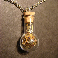 Steampunk Necklace- Gears and Watch Parts in a Glassbulb Vial (632)