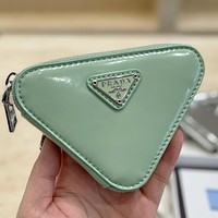 High quality Prada solid color patent leather triangle small wallet key case Bag 1
