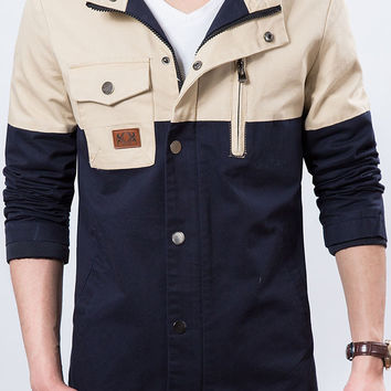 Two-tone Patchwork Casual Mens Jacket Navy