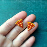 Pizza slice charm stud post earrings Tiny Cheese Pizza Fast Food Jewelry