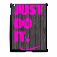 Nike Just Do It Wood Colored Darkwood Wooden Pink iPad 4 Case