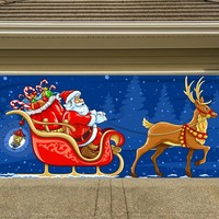 Christmas Garage Door Cover Banners 3d Santa In A Sleigh Holiday Outside Decorations Outdoor Decor for Garage Door G31