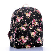 Floral Canvas Pastoral Style England Style Vintage Backpack = 4887706116