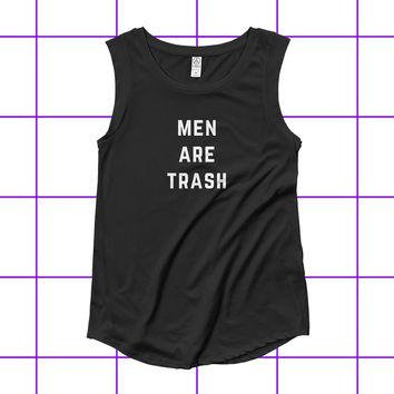Men Are Trash Women's Cap Sleeve Biker Tank Top